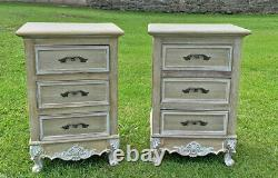 French Louis XV Shabby Chic Style Bedside Cabinet 3 Drawer (cy18616)