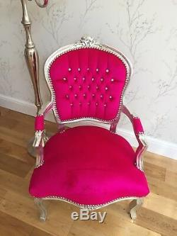 French Louis style Shabby Chic Shocking Pink Chair Silver Wooden Frame Diamantes