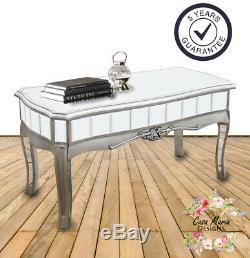 French Mirrored Coffee Table Living Room Furniture Shabby Chic Glass Shabby Chic