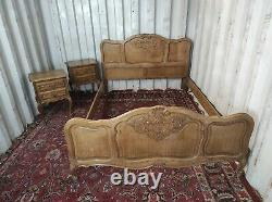 French Oak Carved Louis XV Style Double Bed Frame Ideal Shabbychic