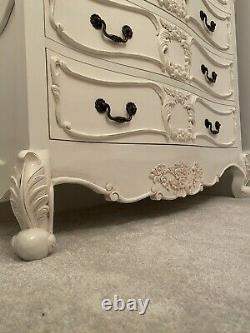 French Ornate Carved Shabby Chic Vintage Louis Chest Of Drawers In Antique White