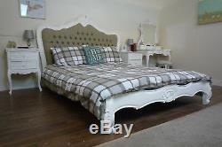 French Parisian Upholstered Double Bed In White Shabby Chic Style