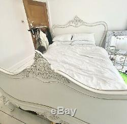 French Rattan King Size Cream Shabby Chic Bed Solid Wood