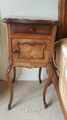 French Rococo Armoire solid wood Wardrobe Drawer double bed cabinets set 4 bits