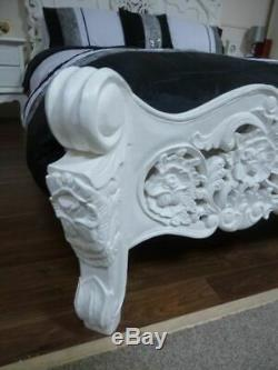 French Rococo Double Bed In White Shabby Chic Double Bed