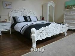 French Rococo Double Bed In White Shabby Chic Style Double Bed