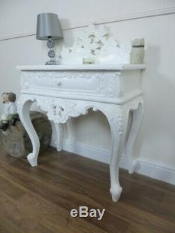 French Rococo Small Chest Of Drawers In White Shabby Chic Side Table