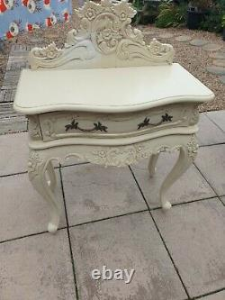 French Rococo Small Side Table In Ivory Shabby Chic Style Side Table