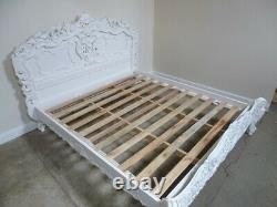 French Rococo Super King Size Bed In White Shabby Chic Style Super King Bed