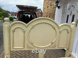 French Shabby Chic 3 Piece Bedroom Furniture Set With King Size Bed, Wall Mirror