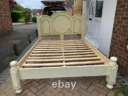 French Shabby Chic King Size Bed Frame In Good Condition. Solid&sturdy Bed Frame
