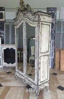 French Shabby Chic Provencal Vintage Antique Wardrobe wit Mirrors Oak Wood