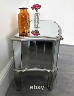 French Shabby Chic Silver Mirrored TV Stand Unit Storage Cabinet Mirror Drawers
