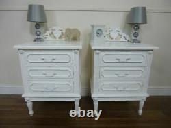 French Shabby Chic Style Bedside Cabinets 3 Drawer Bedsides Tables In White