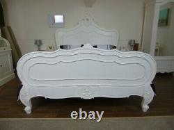 French Shabby Chic Style Double Bed In White Handmade & Hand Carved Bed