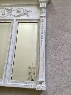 French Shabby Chic Vintage White Over-Mantle Bevelled Mirror Carved Detail
