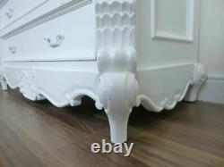 French Style Bordeaux Chest Of Drawers In White Shabby Chic Style