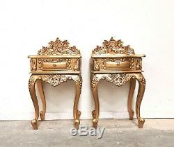 French Style Chateau Bedsides Gold Shabby Chic Brand New