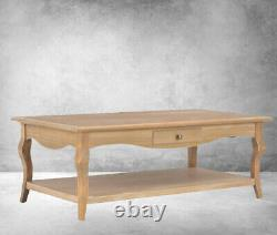 French Style Coffee Table Shabby Chic Living Room Furniture Rustic 2 Drawers