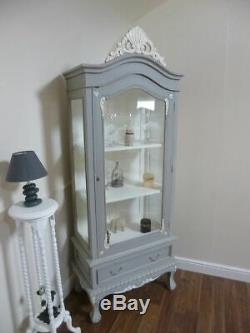 French Style Display Cabinet Shabby Chic Style In Grey & White