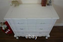 French Style Louis Three Drawer Chest In White Shabby Chic Drawers
