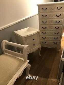 French Style Ornate Shabby Chic 3 Piece Bedroom Furniture Solid Wood