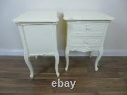 French Style Rococo Two Drawer Bedsides Cabinets In Cream Shabby Chic Style