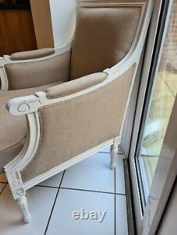 French Style Shabby Chic Country Chic cream wooden upholstered armchair