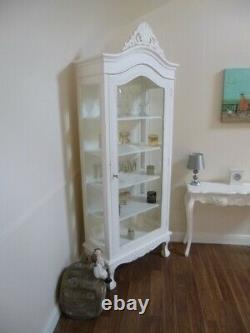French Style Shabby Chic Display Cabinet In White Handmade White Display