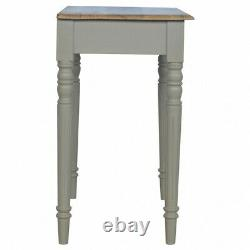 French Style Shabby Chic Grey Painted Desk Table Shell Handle Drawer Flute Legs