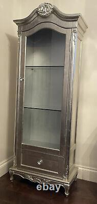French Style Shabby Chic Silver Display Cabinet
