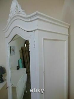 French Style Single Armoire Wardrobe In White Shabby Chic Handmade