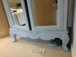 French Style Wardrobe (two Availible) Grey Mirrored Shabby Chic