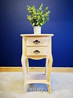 French Style Weathered Oak Bedside Lamp Table Shabby Chic Side Unit Plantstand