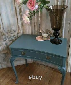 French Vintage Shabby Chic Painted Lamp Sofa Dressing Console Hall Table Drawer