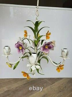 French Vintage Tole 5 light Chandelier leaf metal flowers Shabby Chic