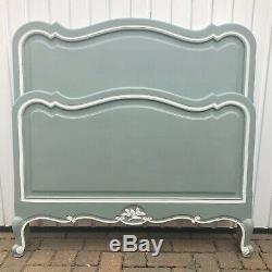 French Wooden Single Bed Frame Annie Sloan Duck Egg Blue & White