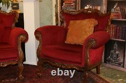 French carved small sofa and armchair louis shabby chic
