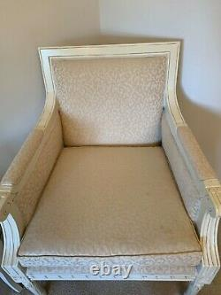French inspired Shabby Chic cream wooden upholstered armchair