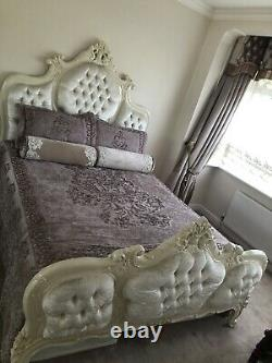 French shabby chic bed King Size Cream Wood