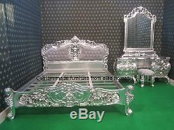 French style BESPOKE Custom made Any Size Rococo Bed set any colour shabby chic