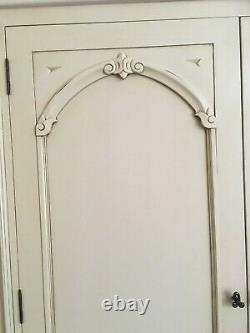 French style shabby chic freestanding wooden double wardrobe