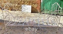 Genuine Antique French Folding Iron Day Bed Shabby Chic Solid