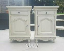 Genuine Pair French White Shabby Chic Bedside Night Side Stand Tables Cabinets