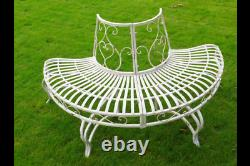 Gothic 1/2 Tree bench French Shabby Chic Vintage Style aged Garden Bench Seat