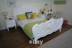 Handmade French Charroux Shabby Chic King Size Bed In White