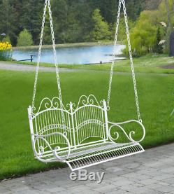 Hanging Swing Bench Shabby Chic Patio Vintage 2 Seater Metal French Porch Chair