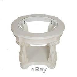 Ivory Round Lamp Side Table Glass Top French Shabby Chic Carved Detail Cream