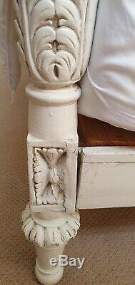 King size genuine antique shabby chic French Rococo bed ivory white Cost £2299