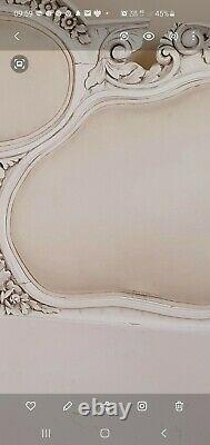 King size genuine antique shabby chic French Rococo bed ivory white Cost £2799
